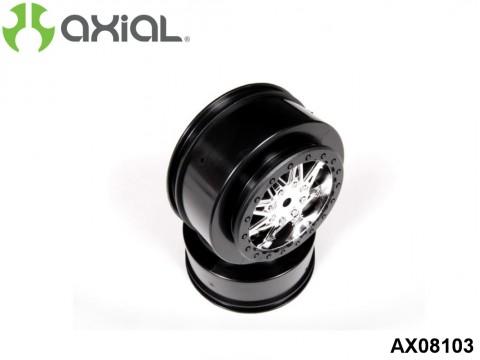 AXIAL Racing AX08103 2.2 3.0 Raceline Renegade Wheels - 41mm (Chrome/Black) (2pcs)