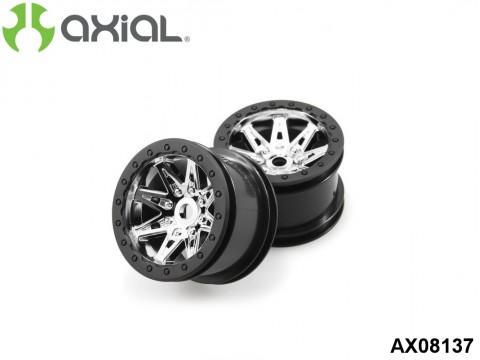AXIAL Racing AX08137 2.2 Raceline Renegade Wheels - 41mm Wide (Chrome/Black) (2pcs)