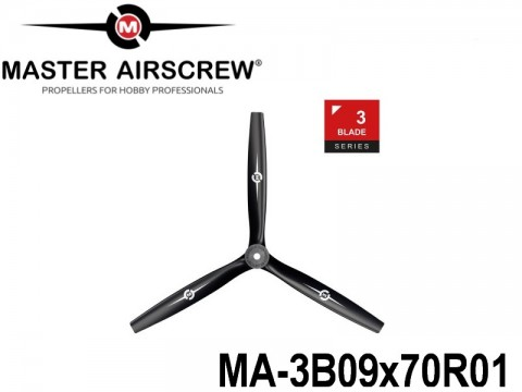 1118 MA-3B09x70R01 Master Airscrew Multi Rotor Propellers Only 3-Blade 9-inch x 7-inch - 228.6mm x 177.8mm Rev.-Pusher
