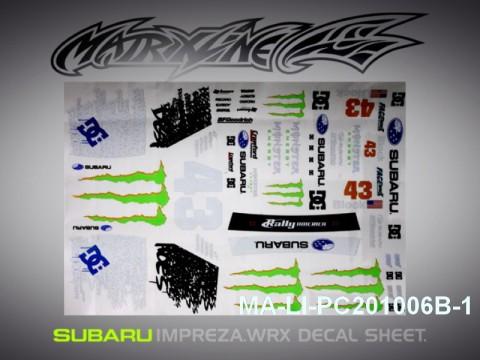 466 SUBARU IMRREZA WRX 10 DECAL SHEET - High Flexible Vinyl Label MA-LI-PC201006B-1 Transparent